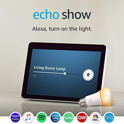 Image of the Echo Show (2nd Gen) with Philips Hue Bulb - Alexa smart home starter kit - Sandstone