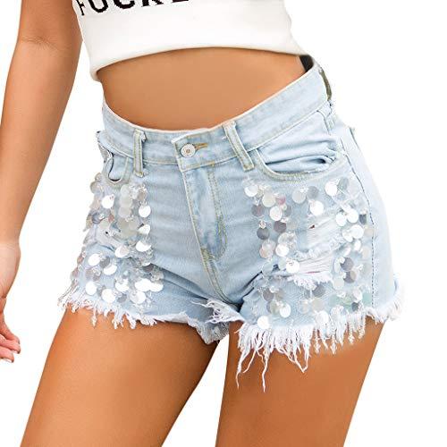 TWISFER Damen Jeans Bermuda Denim Shorts Hoch Sequin Jeanshose Destroyed Boyfriend Kurzhose Jeansshorts