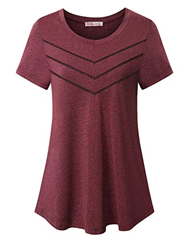 Workout Tops for Women Plus Size,Athletic Gym Running Clothing 2021 Fashion Short Sleeve Zulily Crewneck Shirts Unisex Decent Outfits Biking Cycling Moisture Wicking Tunics Red XX-Large
