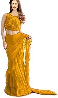 5c1aa5b9fda014 Vinayak Textile Women's Georgette Ruffle Style Saree with Blouse Piece