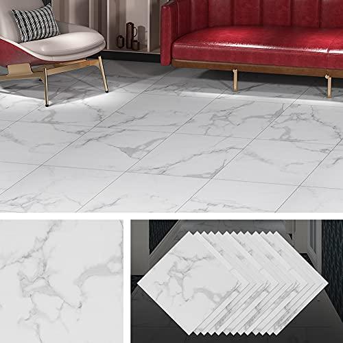 Livelynine 32-Pack Vinyl Flooring Peel and Stick White Laminate Flooring Bathroom Floor Tile Marble Gray Floor Vinyl Sticker Tiles Stick On Flooring for Kitchen Bedroom Basement Linoleum 12X12 Inch