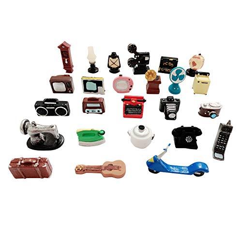 SIX VANKA 25pcs Miniature Resin Retro Home Appliances Decoration Sets Cameras Telephone Photo Props...
