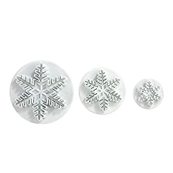 LIHAO Set of 3 Snowflake Fondant Cookie Cutters Cake Decorating Mold