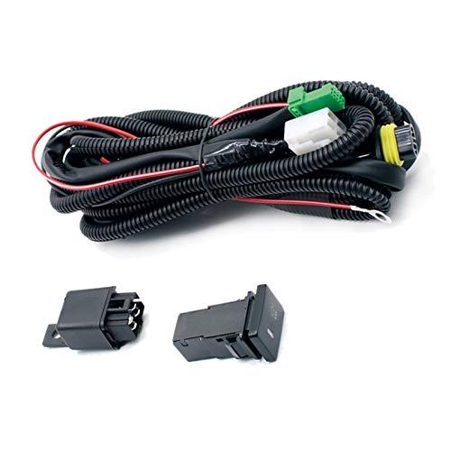 zhuzhu Conjunto de enchufes de arnés de cableado Alambre + Interruptor con Indicadores LED Cable de relé Ajuste para la lámpara de luz de Niebla para FIT Toyota (Color : Black)