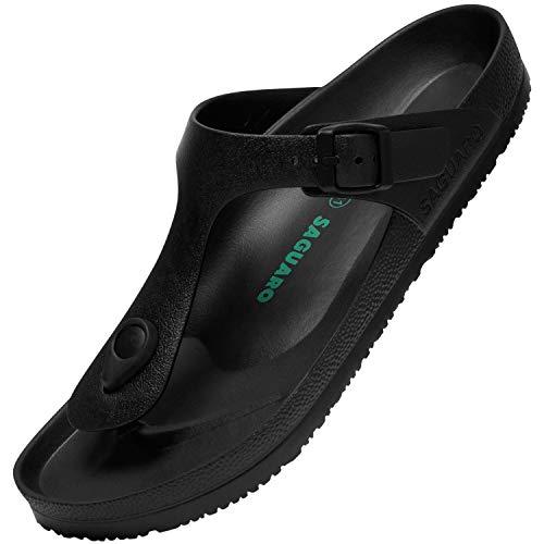 Chanclas para Mujer Hombre Ligero Secado Rápido Flip Flips de Playa Antideslizante Verano Zapatos de Baño Cómodo Sandalias Piscina, Slipper Negro 43
