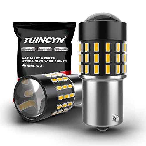 TUINCYN 1156 Ampoule à LED 7506 BA15S 3014 54-EX Puces Lumière pour clignotants clignotants Feu de recul inversé Lumière pour véhicules de loisirs DC 12V-24V Blanc xénon (paquet de 2)