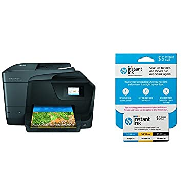 HP OfficeJet Pro 8710 All-in-One Wireless Printer with Mobile Printing, Instant Ink ready (M9L66A) with Instant Ink Prepaid Card for 50 100 300 Page per Month Plans (3HZ65AN)