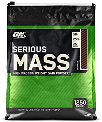 4. ON Optimum Nutrition Serious Mass Weight Gainer Powder (Chocolate, 12 lbs, 5.44 kg)