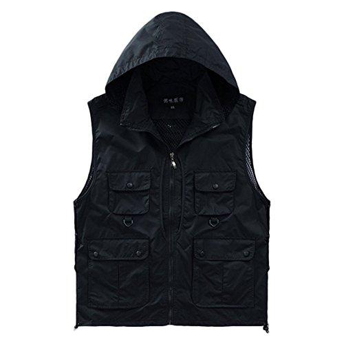 Casual Outdoor séchage Rapide Poches supplémentaires pour Homme de la Femme Poisson pêche Vest Photographie Vest (M, Noir)