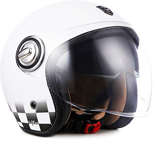 "Soxon® SP-888 ""Snow"" · Jet-Helm · Motorrad-Helm Roller-Helm Scooter-Helm Moped Mofa-Helm Chopper Retro Vespa Vintage Pilot Biker · ECE 22.05 Sonnenvisier Schnellverschluss SlimShell Tasche M (57-58cm)"