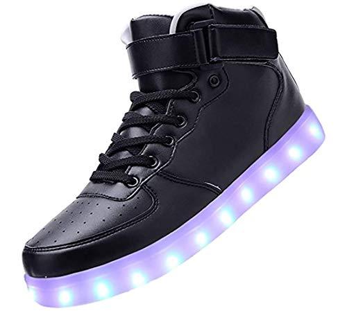 Bling-Bling LED Schuhe - High-Top Sport Sneakers mit in Sieben leuchtender Sohle - Unisex Turnschuh mit USB Anschluss zum Aufladen für Erwachsene - Schwarz - Gr. 38