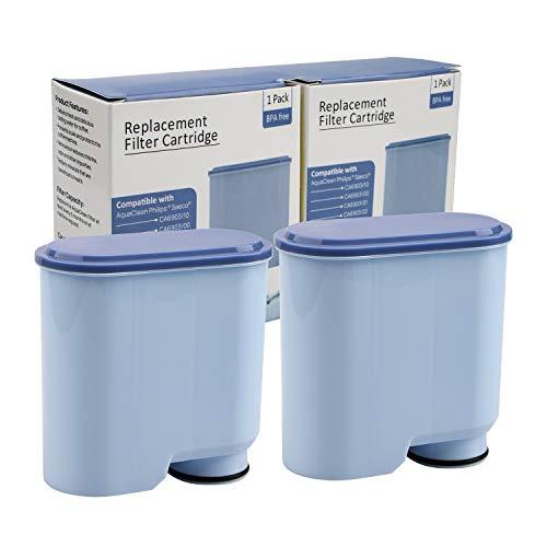 2 Stück Wasserfilter patrone für Philips und Saeco Kaffeevollautomaten, Wasserfilter zur Verhinderung von Kalkablagerungen für die automatische AquaClean KaffeeMaschine CA6903 / 10/00 / 01/22 / 47