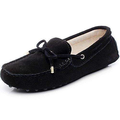 Jamron Mujer Clásico Gamuza Corbata de Moño Mocasines Comodidad Hecho a Mano Pantuflas Negro 24208-2 EU39.5