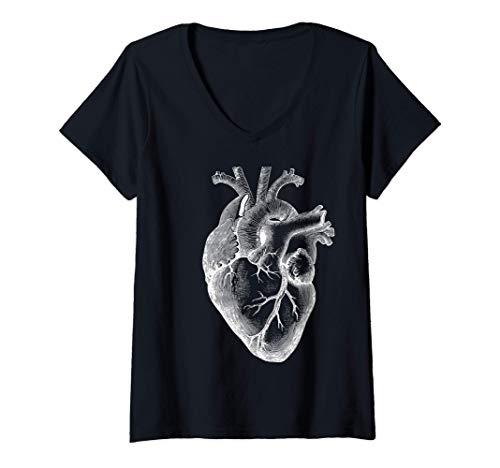 Mujer corazón humano anatómico Anatomía del corazón Camiseta Cuello V