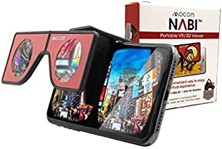 Portable Virtual Reality VR Glasses - Patented Mini Pocket-Sized Headset with Travel Case | Foldable, Portable Head Sets for iPhone & Android, Enjoy 360 VR Videos (Red)