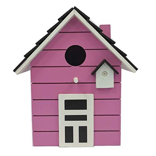 Casa de madera para pájaros, balcón y jardín, color rosa.
