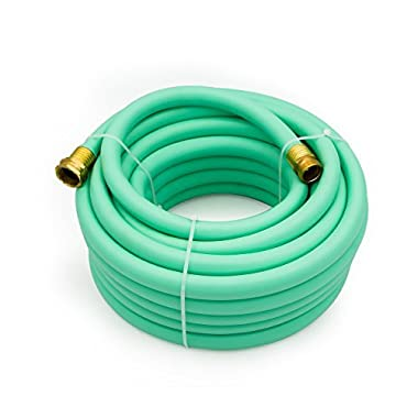 AUTOMAN Garden Hose Flexible - 50ft Hybrid 5/8 In ID Water Hose,Drinking water safe,Brass Connectors, Kink Free Construction,Lightweight,Abrasion Resistant,70 PSI,Blue Color,ATMG0258050.