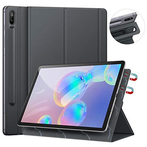 Ztotops Hülle für Samsung Galaxy Tab S6 10.5, Ultra dünn Smart Magnetische Abdeckung, Mit S Pen Halter und Auto Schlaf/Wach Funktion, für Samsung Galaxy Tab S6 10.5 Zoll 2019 (SM-T860/T865), Grau