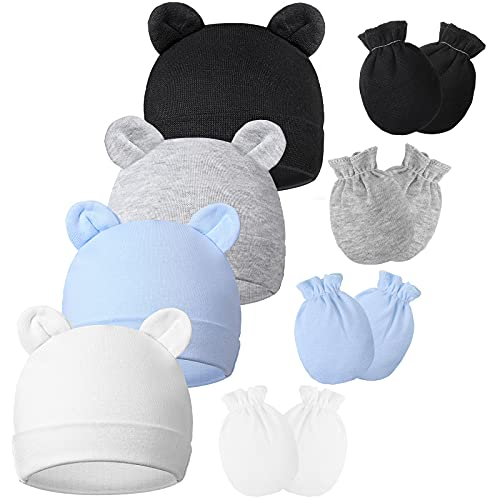 8 Pieces Newborn Baby Hats and Mittens Set, Cute Bear Ears Beanies Infant Beanie Hats No Scratch Baby Mittens Unisex Infant Mitten Gloves for 0-6 Months Baby Boys Girls