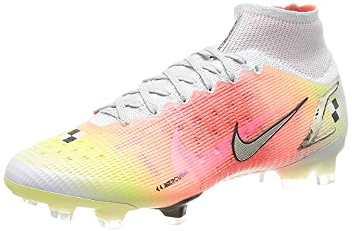 Nike Superfly 8 Elite MDS FG, Zapatillas de ftbol Unisex Adulto, White Mtlc Silver Pure Platinum BRT Mango Black, 44 EU