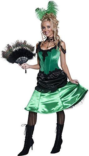 Smiffys Costume de fille de saloon vieille Angleterre, vert et noir, avec robe et barrette