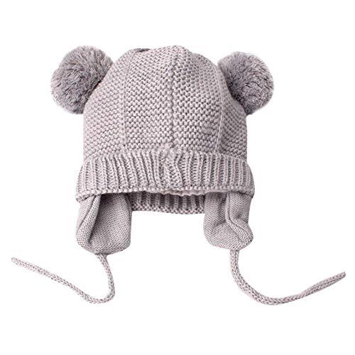 JIAXINJIE Moda Invierno Lindo Niño Niños Niña Niño Bebé Bebé Invierno Cálido Crochet Gorro De Punto Gris Gorro Gorro