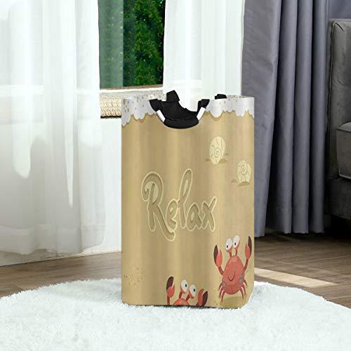 ZOANEN Wäschesack,Engel lustige Sommerkarte mit niedlichen Krabben auf dem Strand-Feiertags-Themendruck Sandbraun-Weiß,Großer faltbarer Wäschekorb,zusammenklappbarer Wäschekorb