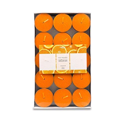 Pajoma 91026 Conjunto de 30 Velas de té Aroma Naranja Modern Line, duración de la combustión Aproximadamente 14 Horas, Altura 1,5 cm