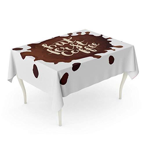 LIS HOME Rechteck Tischdecke Aquarell Blob Kaffeeflecken Aber erste Phrase braune Farbe Blots Cafe Koffein kalligraphische Tischdecke