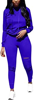 Women Two Piece Hooded Outfits Tracksuits Long Sleeve Pullover and Skinny Pants Suit Sweatsuits