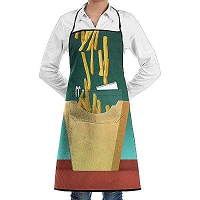 Wthesunshin Chips De Pommes De Terre Frites Tablier Alimentaire Dentelle Unisexe Hommes Femmes Chef Réglable Polyester Long Plein Noir Cuisine Tabliers De Cuisine Bavoir avec Poches
