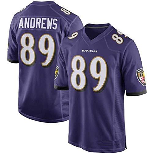 Rugby-Trikots American-Football-Trikots Ravens 89# Anorews Mosley Youth Kurzarm-Freizeithemden Herren-T-Shirts Fitnesskleidung Weiche, luftige, schnell trocknende, Fans-Purple-XX