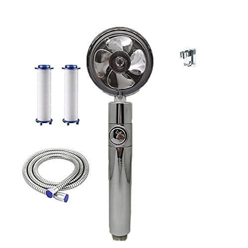 HOUHOUYIBA Propellerbetriebener Duschkopf, Hochdruck-Duschkopf für niedrigen Wasserdruck, einfach zu installierende Handbrause mit Turbolader 360 Grad (Silber)