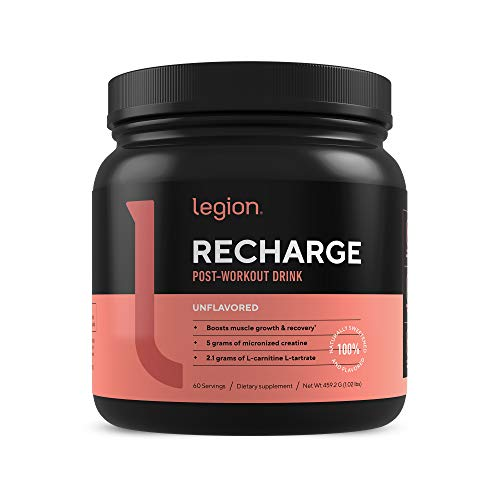 Legion Recharge Post Workout Supplement - All Natural Muscle Builder & Recovery Drink with Micronized Creatine Monohydrate. Naturally Sweetened & Flavored, Safe & Healthy. Unflavored, 60 Serv