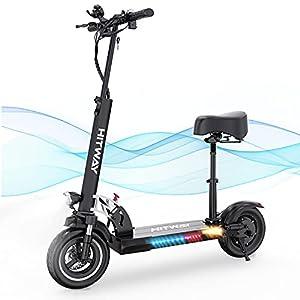 HITWAY patinete eléctrico, 800 W, 45 km / h, 40 km, scooter eléctrico plegable con pantalla LCD, batería de iones de litio de 10 Ah, para adolescentes y adultos (negro01)