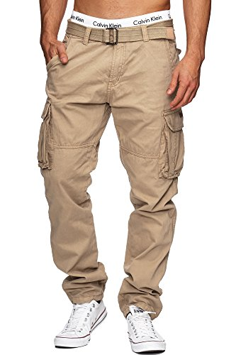 Indicode Herren William Cargohose aus Baumwolle m. 7 Taschen inkl. Gürtel | Lange Regular Fit Cargo Hose Baumwollhose Freizeithose Wanderhose Trekkinghose Outdoorhose für Männer Fog XL