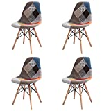 GroBKau Ensemble de 4 chaises de Salle à Manger Modernes tapissées de Tissu Patchwork avec Base en Bois chevillée Idéales pour Salon/Salle à Manger/café/Salle d'attente (Rouge)