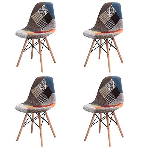 GroBKau Set di 4 sedie da pranzo moderne, in tessuto patchwork, imbottite, con base in legno, ideali per soggiorno, sala da pranzo, caffetteria, sala d'attesa, ecc. Red