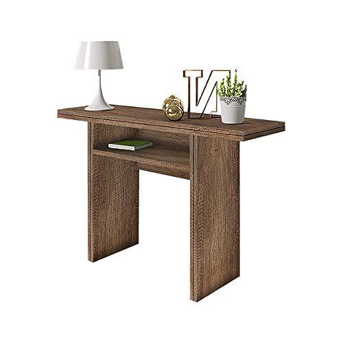 Selsey LURDI - Table Console/Console Extensible/Coiffeuse Extensible (35-70x120 cm, Effet chêne Canyon foncé)