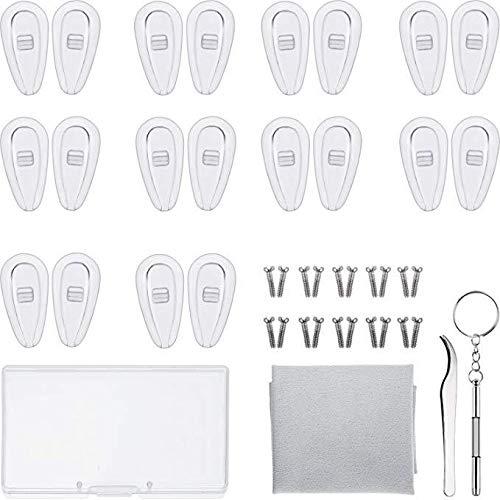 Neuspads, reparatieset, zachte siliconen inschroefbril, neuspads met schroeven, pincet, reinigingsdoekje, opbergdoos (15 mm)