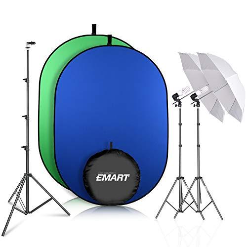 Emart Green Screen Kit, 400W Photography Lighting Umbrella Studio Lighting Kit, 5ft X 6.5ft Portable Green Screen, Chromakey Collapsible Green Screen for Photo Video Shooting