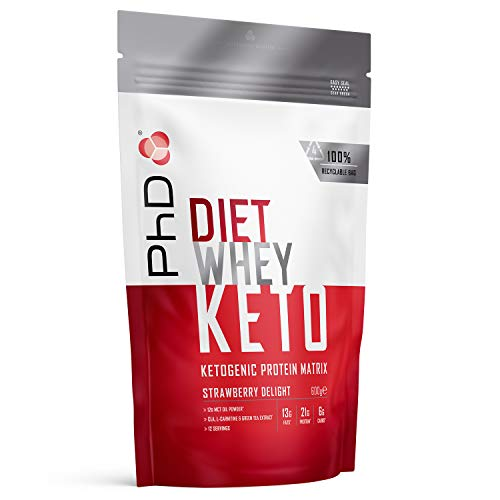 PhD Nutrition Diet Whey Keto, Ketogenic Protein Powder, Including Added Mct Powder, Strawberry Delight, 600 g