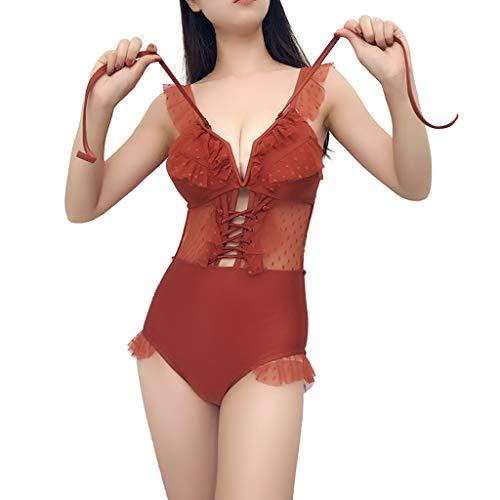 XYZMDJ Red de Vacaciones Europeas y Americanas, conexión Sexy roja, Bikini Delgado, Traje de baño de Aguas Termales, Traje de baño para Mujer, poliéster sólido (Size : Medium)