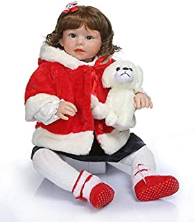 Angelbaby Real Life Cute Reborn Toddler Baby Dolls Girl 28 inch Blue Eyes New Born Bebe with Short Curly Hair Child Weighted Cloth Body Snuggable Toys with Clothes