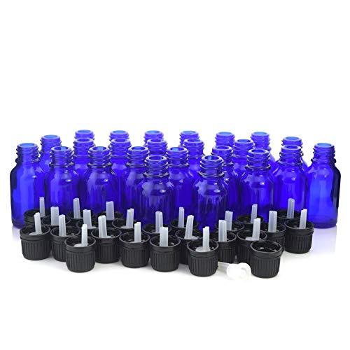 NLLeZ 24pcs 15ml Cobalto Botellas de Aceite Esencial de Vidrio Azul con Reducer de Orificio Euro Dropper Tapper Evident Cap de Perfume de aromaterapia (Color : Cobalt Blue, tamaño : 15ml)
