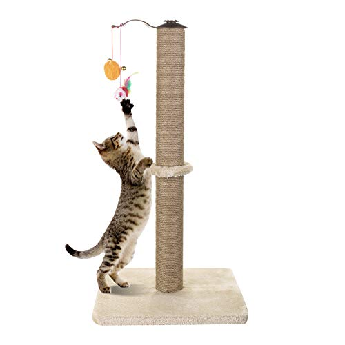 Akarden Cat Scratching Post, 360 Degree Roating Cat Claw Scratcher with Hanging Ball, Cat Furniture, Soft Smooth Plush, 26.3'' in Height