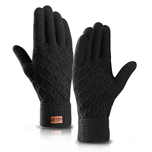 Gants Homme Hiver Chaud Tactile Gants Tricotés,Gants Thermiques Doublés en Laine pour Hommes et Femmes (M, Noir)