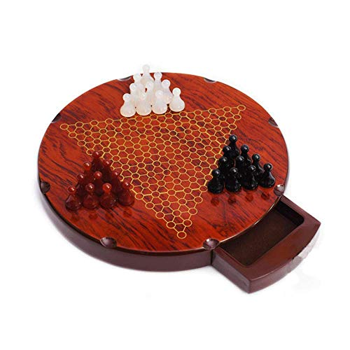 Holz-Rund Chinese Checkers Family Game Set-Drei-Farben-Stereoscopic Agate Schachfigur for 3 Spieler zhihao