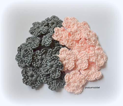 Häkelblümchen ca. 3cm 24 stück, 12x zartrosa 12x steingrau, Applikation, Aufnäher, gehäkelt!