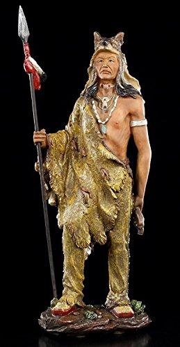 Indianer Figur mit Wolfspelz - Western